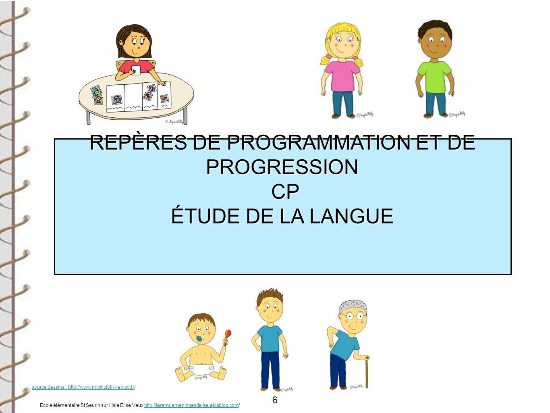 6 REPÈRES DE PROGRAMMATION ET DE PROGRESSION CP CP ÉTUDE DE LA LANGUE Ecole élémentaire St Seurin sur lIsle Elise Veux http://leremuemeningesdelise.ek