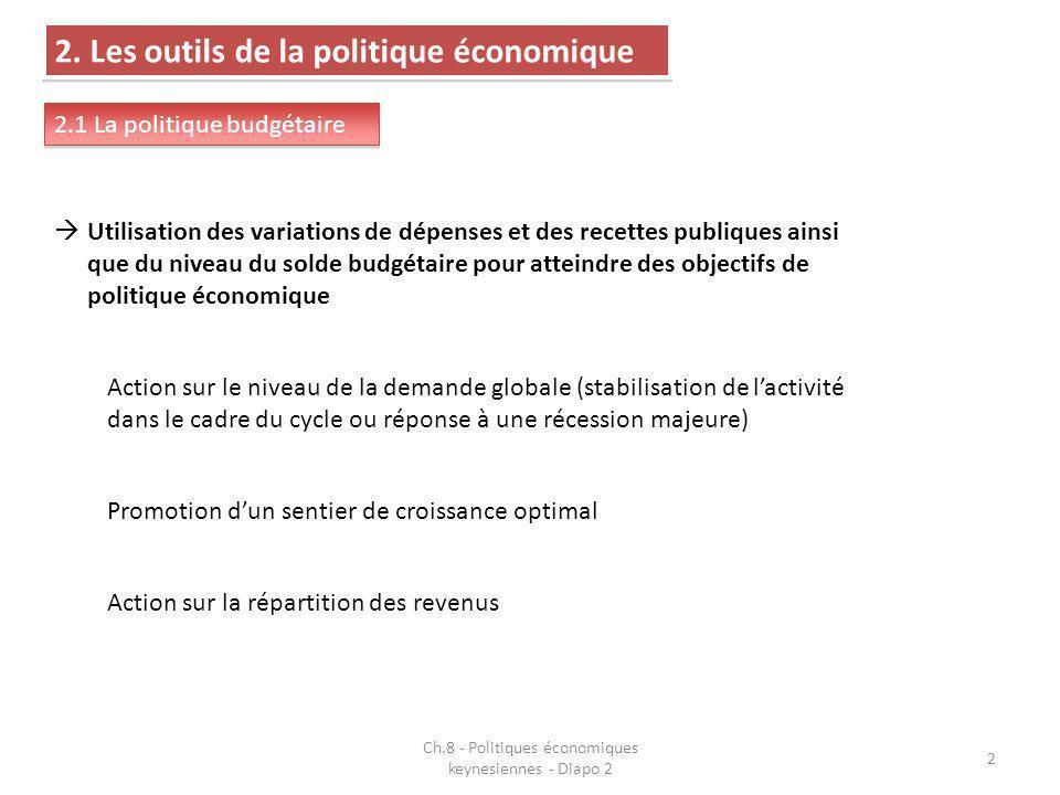2 2. Les outils de la politique économique 2.1 La politique budgétaire Utilisation des variations de dépenses et des recettes publiques ainsi que du n