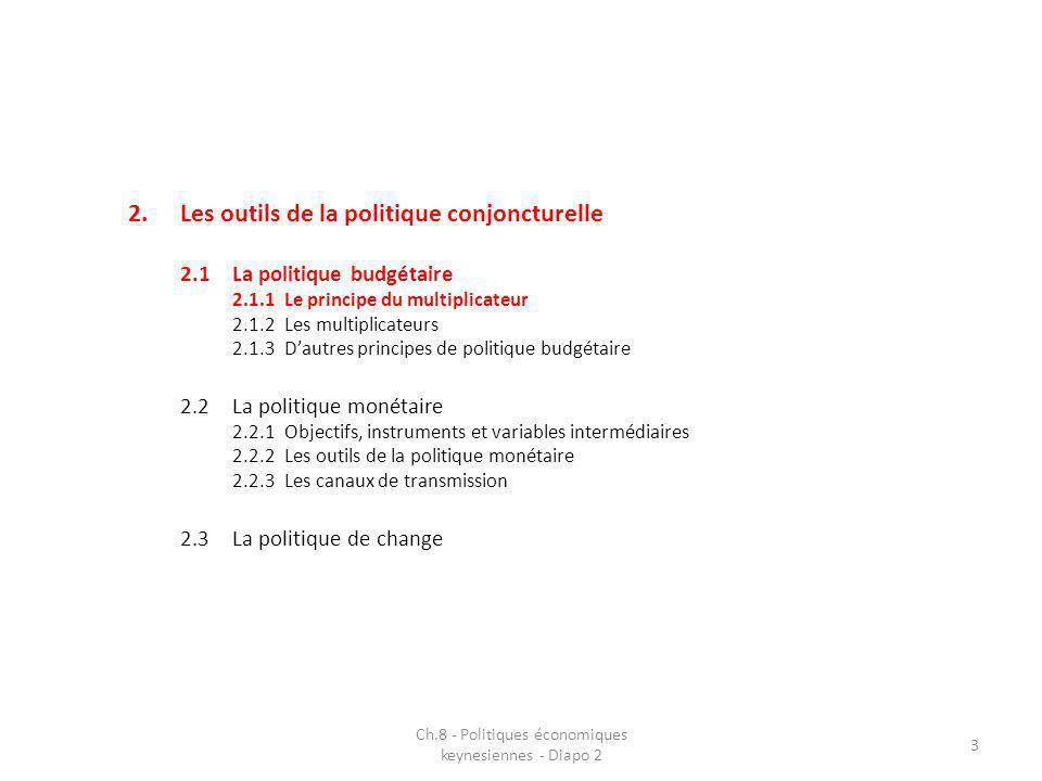 2.Les outils de la politique conjoncturelle 2.1La politique budgétaire 2.1.1Le principe du multiplicateur 2.1.2Les multiplicateurs 2.1.3Dautres principes de politique budgétaire 2.2La politique monétaire 2.2.1Objectifs, instruments et variables intermédiaires 2.2.2Les outils de la politique monétaire 2.2.3Les canaux de transmission 2.3La politique de change Ch.8 - Politiques économiques keynesiennes - Diapo 2 3