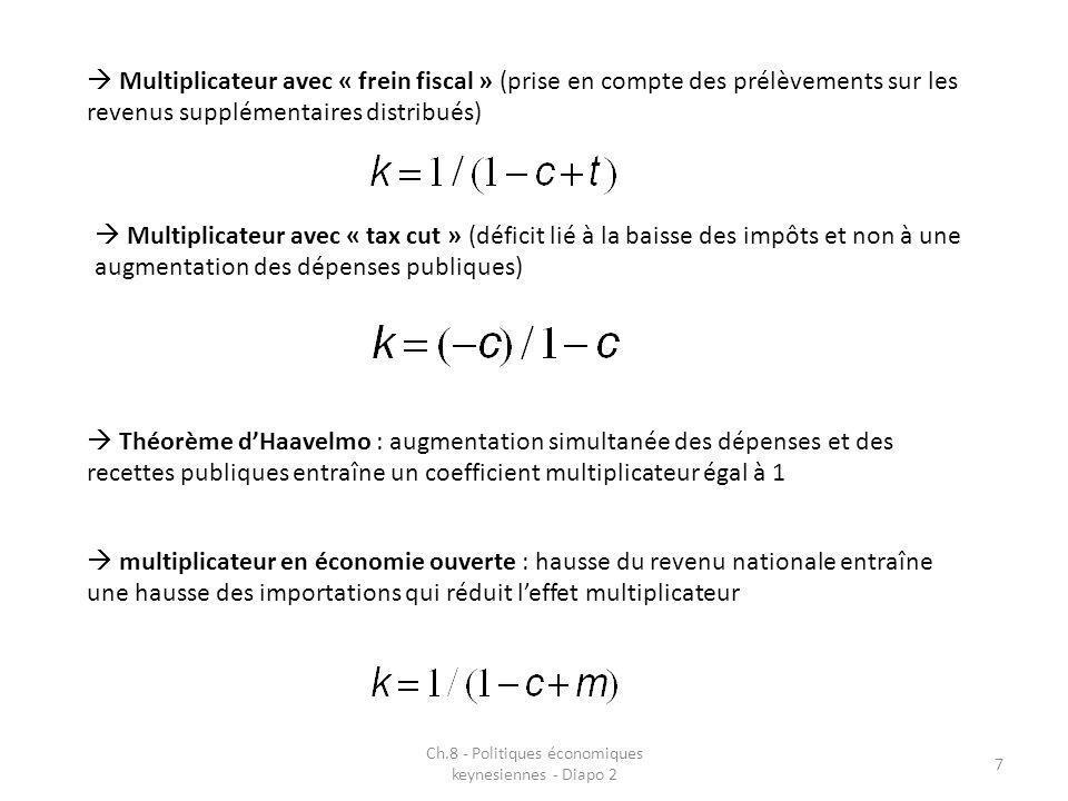 Ch.8 - Politiques économiques keynesiennes - Diapo 2 7 Multiplicateur avec « frein fiscal » (prise en compte des prélèvements sur les revenus suppléme