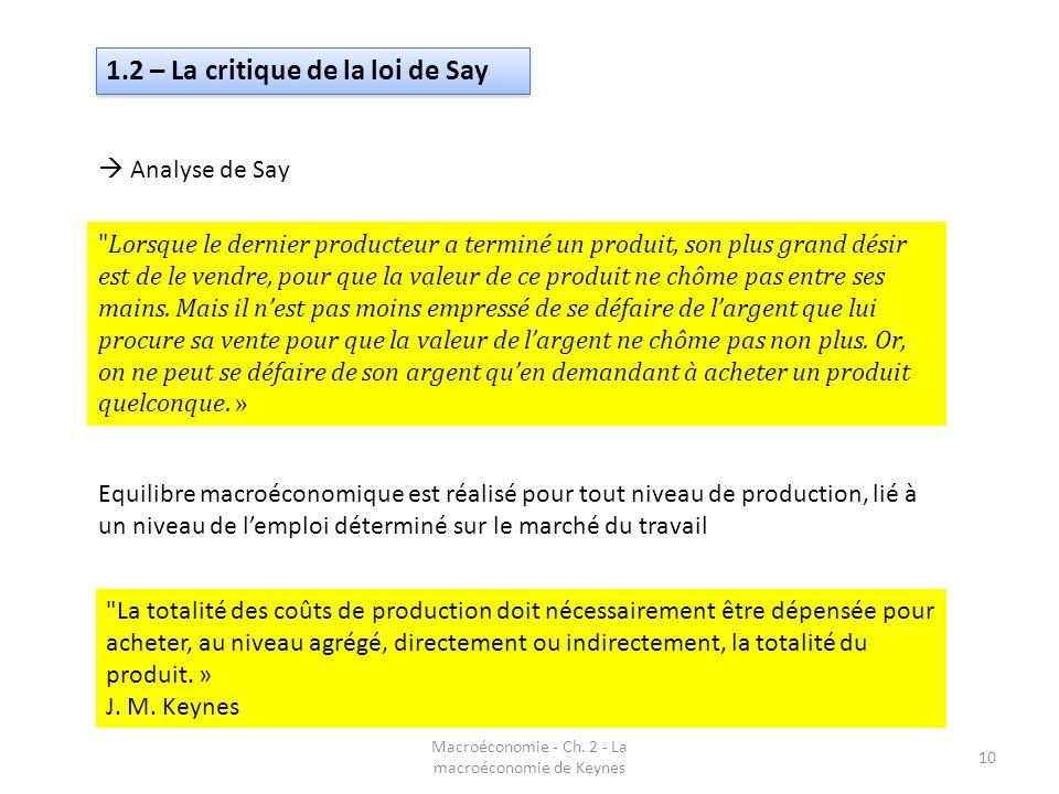 Macroéconomie - Ch. 2 - La macroéconomie de Keynes 10 1.2 – La critique de la loi de Say Analyse de Say