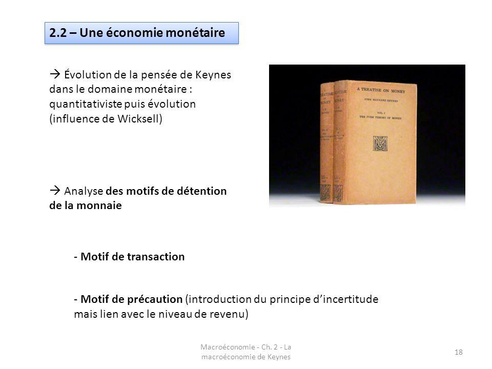 Macroéconomie - Ch. 2 - La macroéconomie de Keynes 18 2.2 – Une économie monétaire Évolution de la pensée de Keynes dans le domaine monétaire : quanti