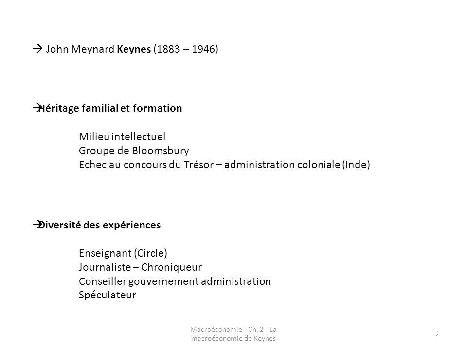 2 John Meynard Keynes (1883 – 1946) Héritage familial et formation Milieu intellectuel Groupe de Bloomsbury Echec au concours du Trésor – administrati
