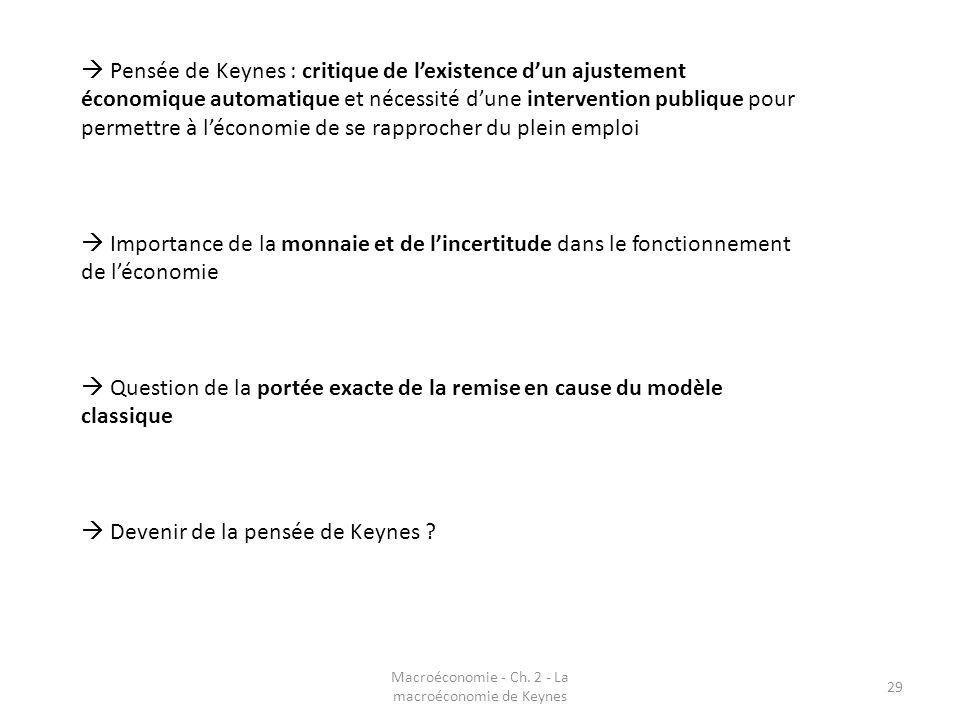 Macroéconomie - Ch. 2 - La macroéconomie de Keynes 29 Pensée de Keynes : critique de lexistence dun ajustement économique automatique et nécessité dun
