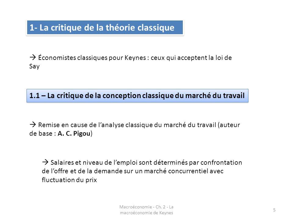 Macroéconomie - Ch. 2 - La macroéconomie de Keynes 5 1- La critique de la théorie classique Économistes classiques pour Keynes : ceux qui acceptent la