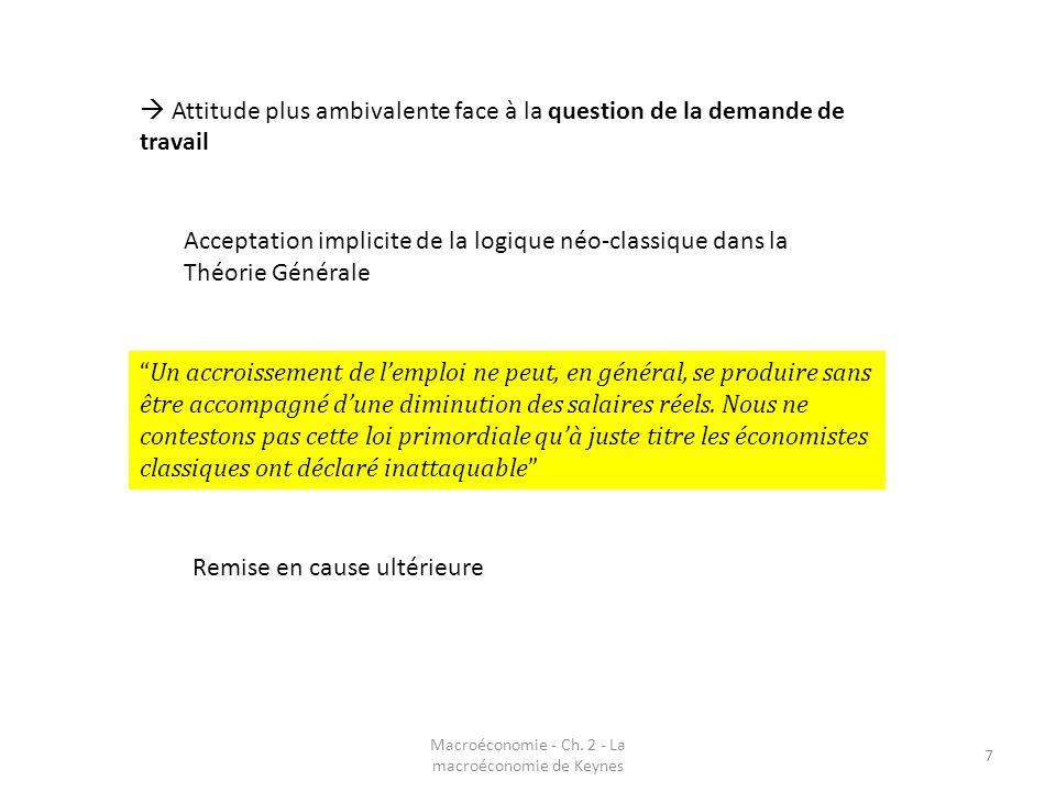 Macroéconomie - Ch. 2 - La macroéconomie de Keynes 7 Attitude plus ambivalente face à la question de la demande de travail Acceptation implicite de la