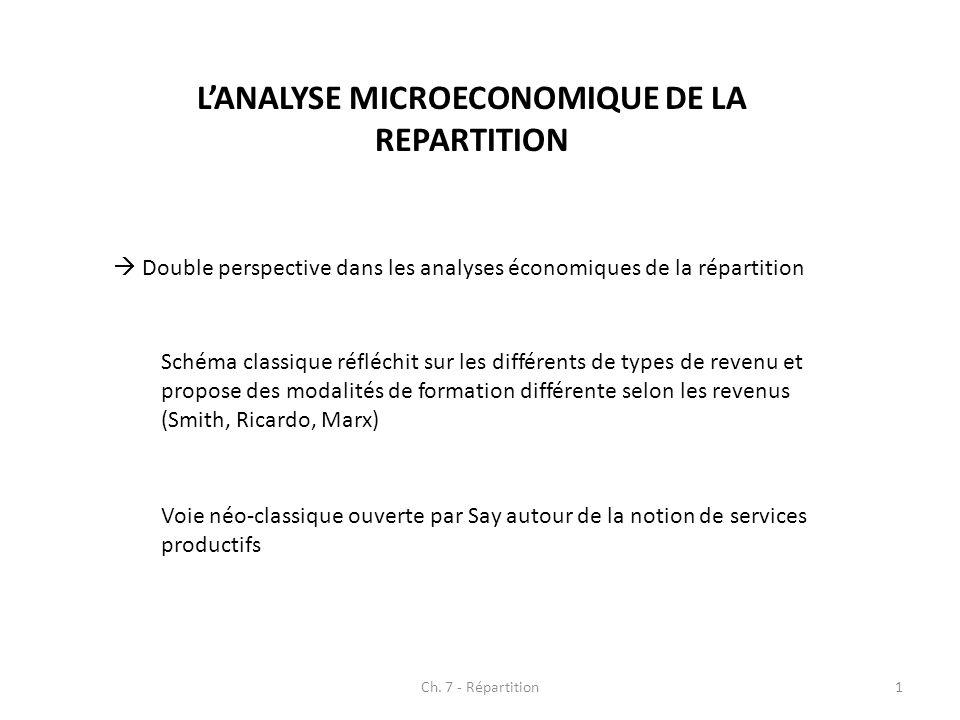 LANALYSE MICROECONOMIQUE DE LA REPARTITION Double perspective dans les analyses économiques de la répartition Schéma classique réfléchit sur les diffé
