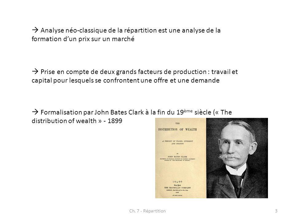 Ch. 7 - Répartition3 Analyse néo-classique de la répartition est une analyse de la formation dun prix sur un marché Prise en compte de deux grands fac