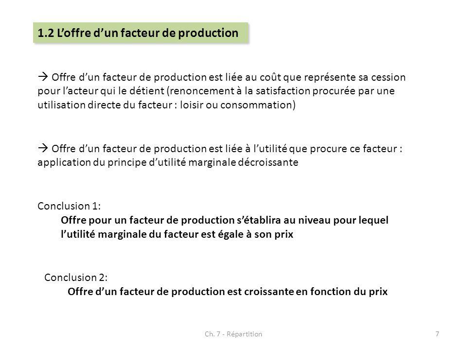 Ch. 7 - Répartition7 1.2 Loffre dun facteur de production Offre dun facteur de production est liée au coût que représente sa cession pour lacteur qui