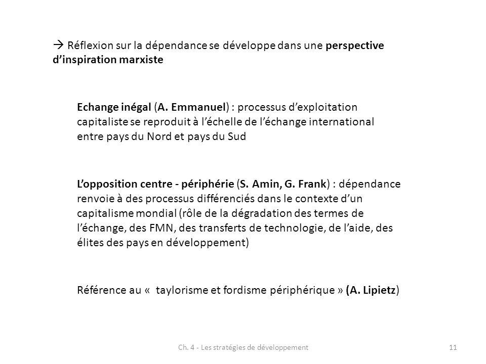 Ch. 4 - Les stratégies de développement11 Réflexion sur la dépendance se développe dans une perspective dinspiration marxiste Echange inégal (A. Emman
