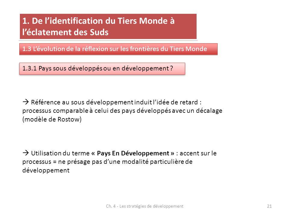 Ch. 4 - Les stratégies de développement21 1.3.1 Pays sous développés ou en développement ? 1. De lidentification du Tiers Monde à léclatement des Suds
