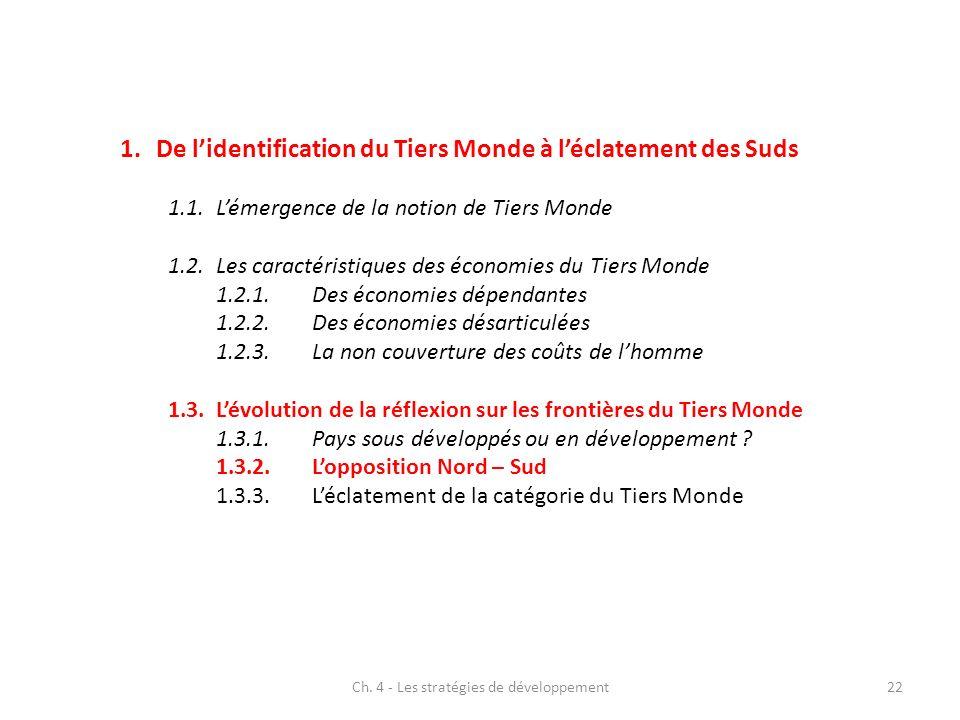 Ch. 4 - Les stratégies de développement22 1.De lidentification du Tiers Monde à léclatement des Suds 1.1.Lémergence de la notion de Tiers Monde 1.2.Le