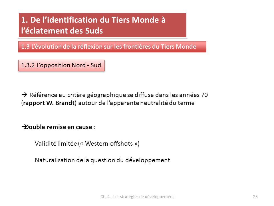 Ch. 4 - Les stratégies de développement23 1.3.2 Lopposition Nord - Sud 1. De lidentification du Tiers Monde à léclatement des Suds 1.3 Lévolution de l