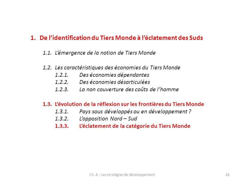 Ch. 4 - Les stratégies de développement24 1.De lidentification du Tiers Monde à léclatement des Suds 1.1.Lémergence de la notion de Tiers Monde 1.2.Le