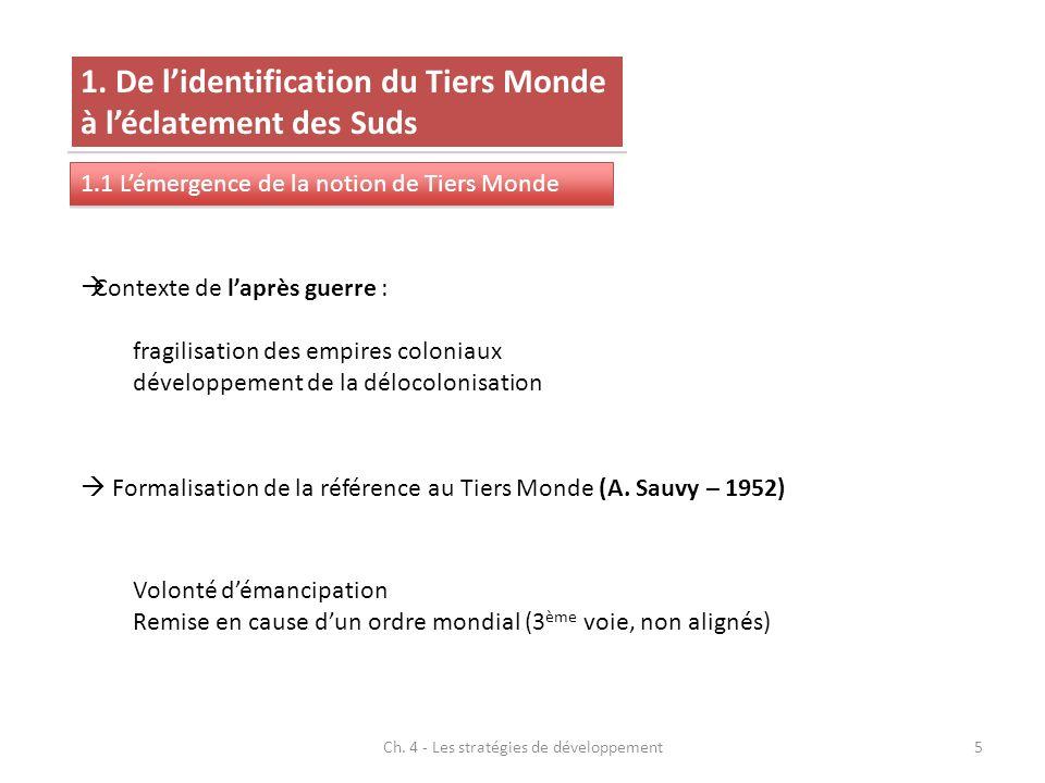 Ch. 4 - Les stratégies de développement5 1. De lidentification du Tiers Monde à léclatement des Suds 1.1 Lémergence de la notion de Tiers Monde Contex
