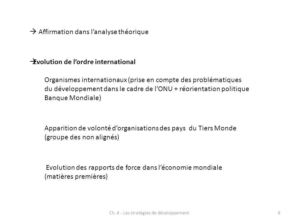 Ch. 4 - Les stratégies de développement6 Affirmation dans lanalyse théorique Evolution de lordre international Organismes internationaux (prise en com