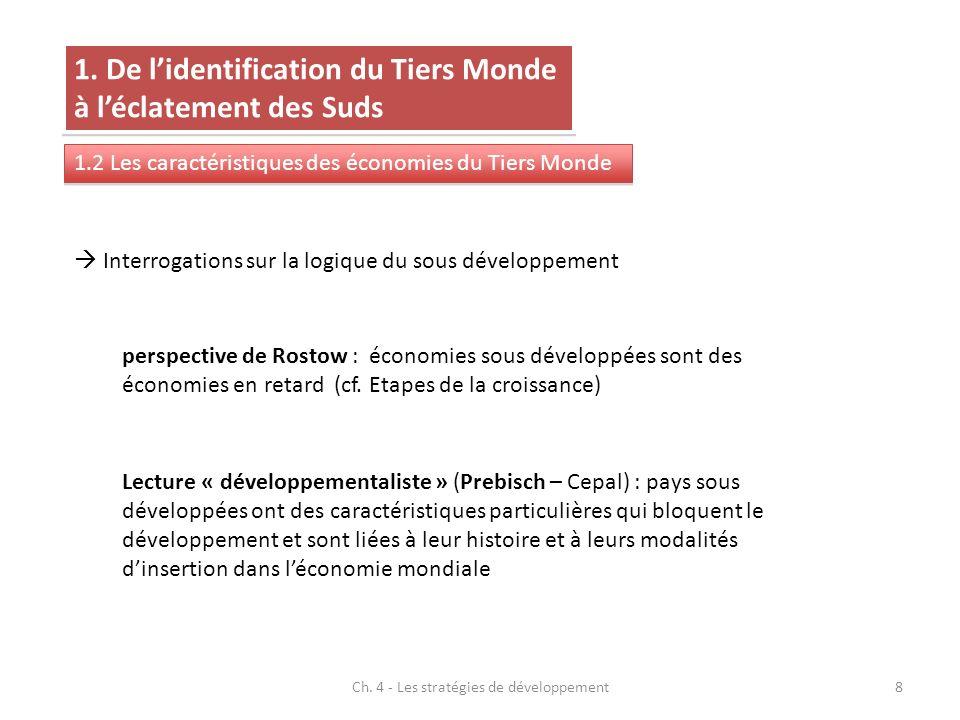 Ch. 4 - Les stratégies de développement8 1. De lidentification du Tiers Monde à léclatement des Suds 1.2 Les caractéristiques des économies du Tiers M