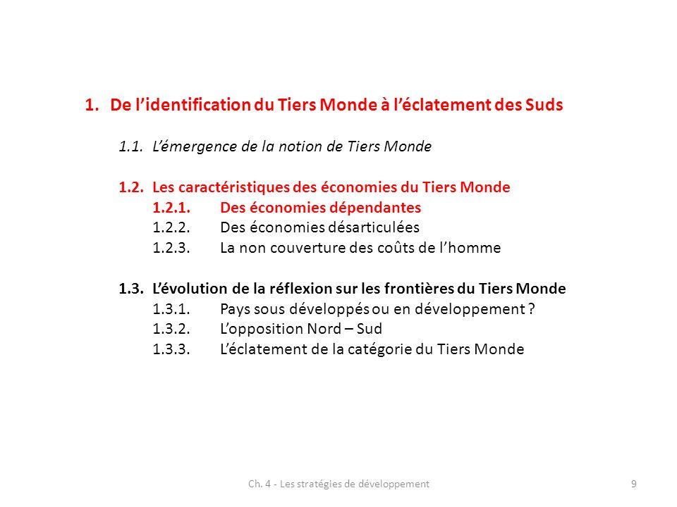 Ch.4 - Les stratégies de développement10 1.2.1 Des économies dépendantes 1.