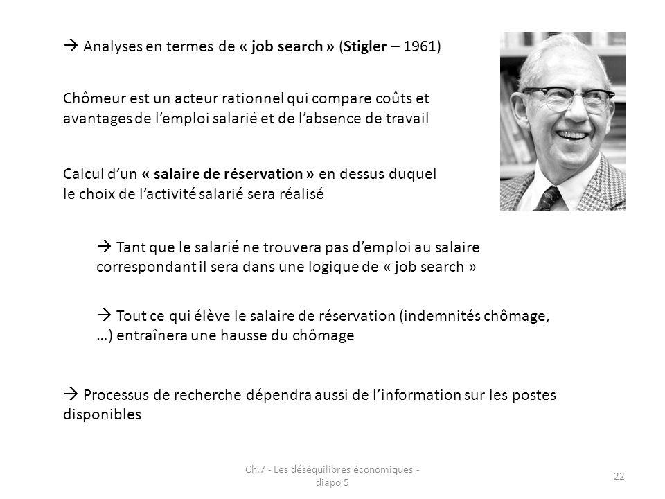 Ch.7 - Les déséquilibres économiques - diapo 5 22 Analyses en termes de « job search » (Stigler – 1961) Chômeur est un acteur rationnel qui compare coûts et avantages de lemploi salarié et de labsence de travail Calcul dun « salaire de réservation » en dessus duquel le choix de lactivité salarié sera réalisé Tout ce qui élève le salaire de réservation (indemnités chômage, …) entraînera une hausse du chômage Tant que le salarié ne trouvera pas demploi au salaire correspondant il sera dans une logique de « job search » Processus de recherche dépendra aussi de linformation sur les postes disponibles