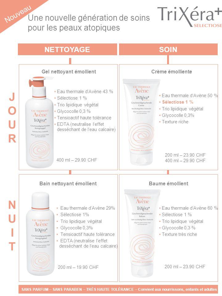 NETTOYAGESOIN Nouveau Eau thermale dAvène 50 % Sélectiose 1 % Trio lipidique végétal Glycocolle 0,3% Texture riche JOURJOUR NUITNUIT 400 ml – 29.90 CH