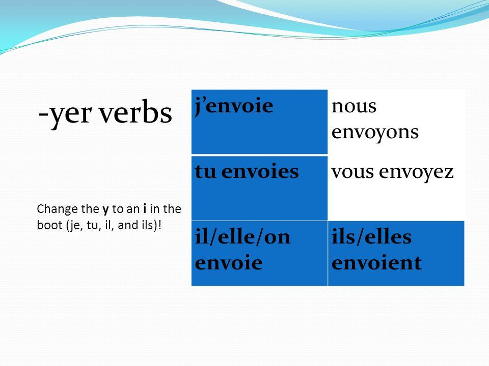 Change the y to an i in the boot (je, tu, il, and ils)! -yer verbs jenvoienous envoyons tu envoiesvous envoyez il/elle/on envoie ils/elles envoient