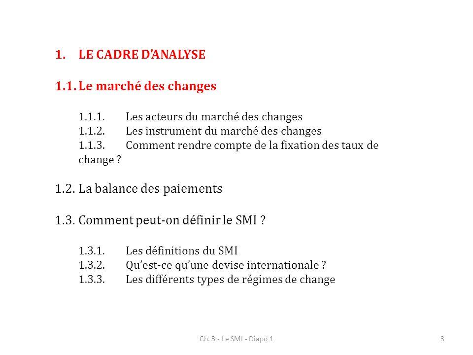 Ch. 3 - Le SMI - Diapo 13 1.LE CADRE DANALYSE 1.1.Le marché des changes 1.1.1.Les acteurs du marché des changes 1.1.2.Les instrument du marché des cha