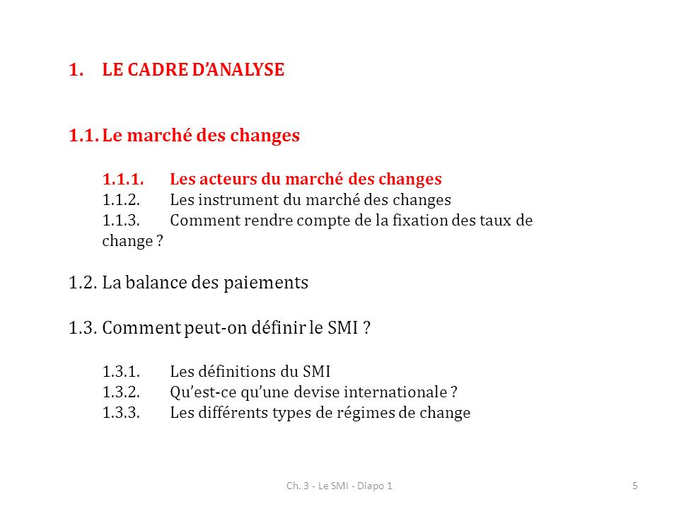 Ch. 3 - Le SMI - Diapo 15 1.LE CADRE DANALYSE 1.1.Le marché des changes 1.1.1.Les acteurs du marché des changes 1.1.2.Les instrument du marché des cha