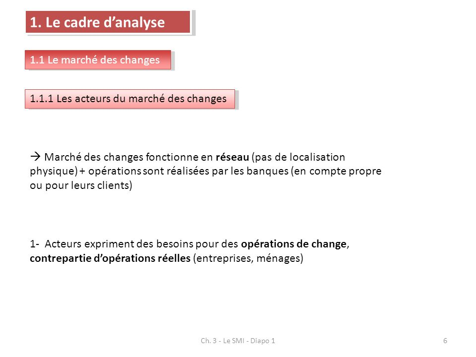 Ch. 3 - Le SMI - Diapo 16 1. Le cadre danalyse 1.1 Le marché des changes 1.1.1 Les acteurs du marché des changes Marché des changes fonctionne en rése