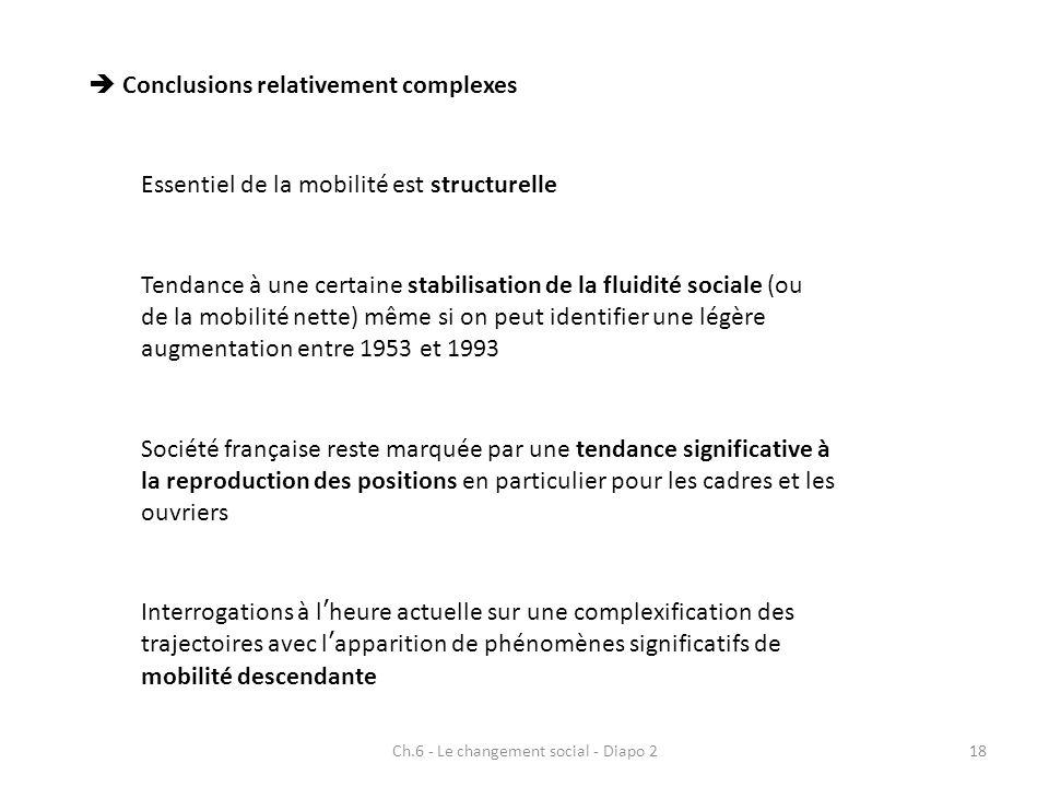 Ch.6 - Le changement social - Diapo 218 Conclusions relativement complexes Essentiel de la mobilité est structurelle Tendance à une certaine stabilisa