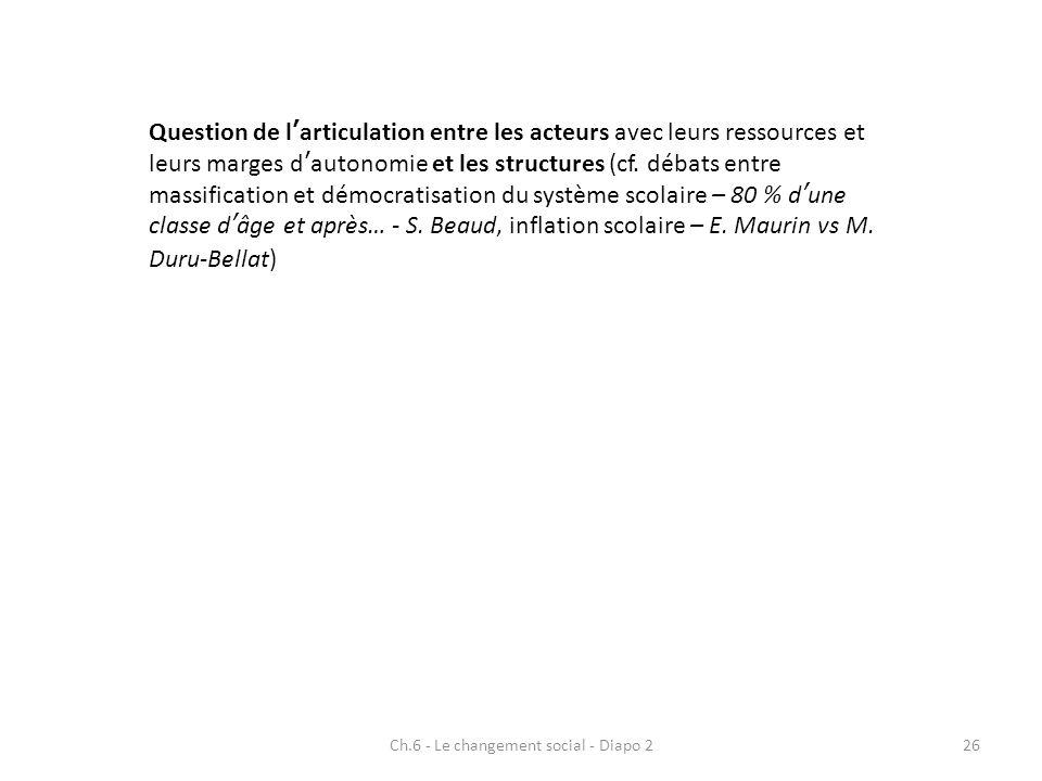 Ch.6 - Le changement social - Diapo 226 Question de larticulation entre les acteurs avec leurs ressources et leurs marges dautonomie et les structures