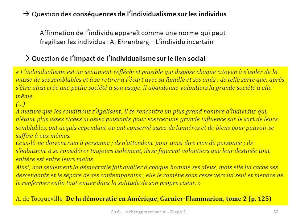 Ch.6 - Le changement social - Diapo 232 Question des conséquences de lindividualisme sur les individus Affirmation de lindividu apparaît comme une nor