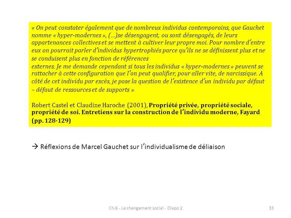 Ch.6 - Le changement social - Diapo 233 « On peut constater également que de nombreux individus contemporains, que Gauchet nomme « hyper-modernes », (