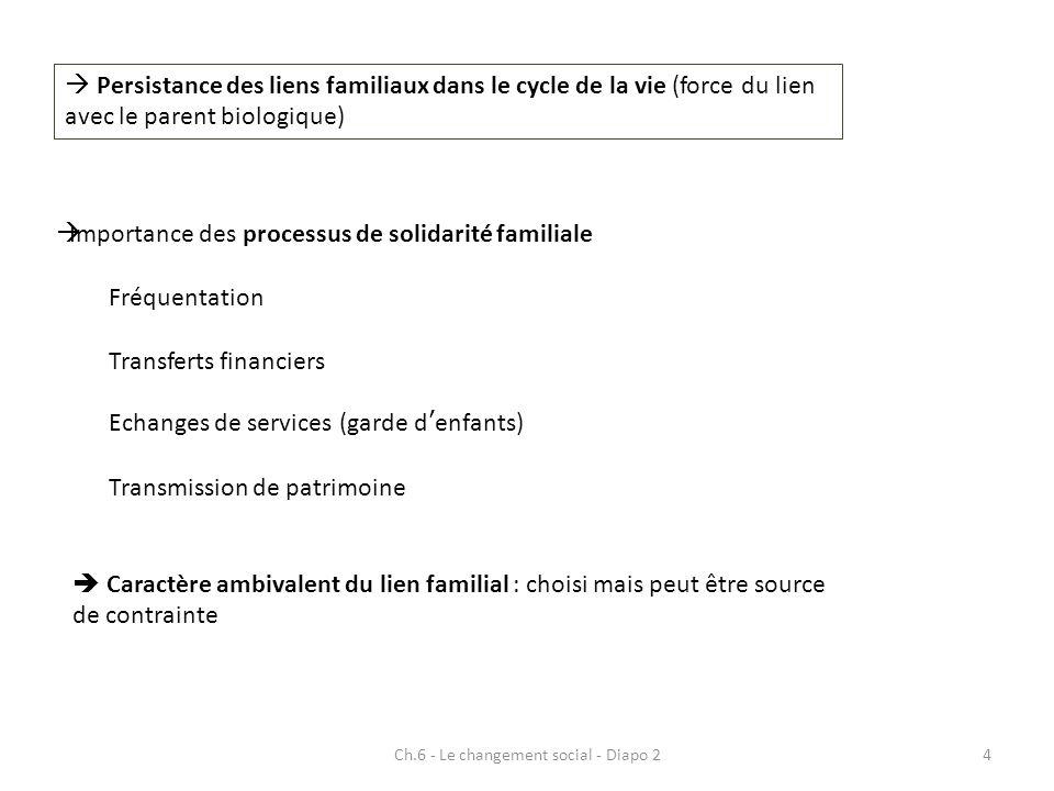 Ch.6 - Le changement social - Diapo 225 Limportance de lorigine Facteur dimmobilité sociale (stratégies de conservation dune position - mobilisation de ressources – ou difficultés à sextraire dune position dominée)