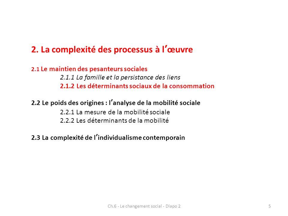 2. La complexité des processus à lœuvre 2.1 Le maintien des pesanteurs sociales 2.1.1 La famille et la persistance des liens 2.1.2 Les déterminants so