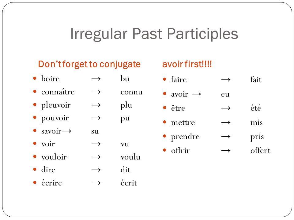 Irregular Past Participles Dont forget to conjugateavoir first!!!! boire bu connaître connu pleuvoir plu pouvoir pu savoir su voir vu vouloir voulu di