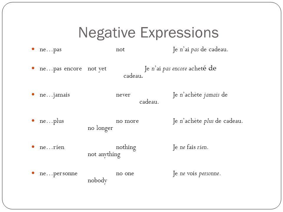 Negative Expressions ne…pas notJe nai pas de cadeau. ne…pas encorenot yetJe nai pas encore achet é de cadeau. ne…jamaisneverJe nachète jamais de cadea