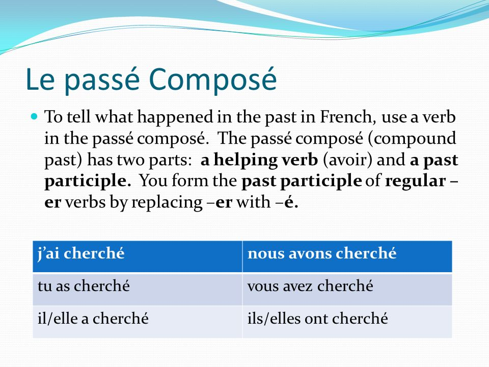 Le passé Composé To tell what happened in the past in French, use a verb in the passé composé. The passé composé (compound past) has two parts: a help