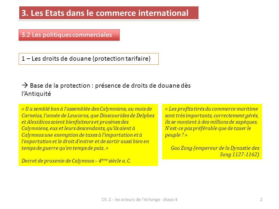 3. Les Etats dans le commerce international 3.2 Les politiques commerciales Ch. 2 - les acteurs de l'échange - diapo 42 1 – Les droits de douane (prot