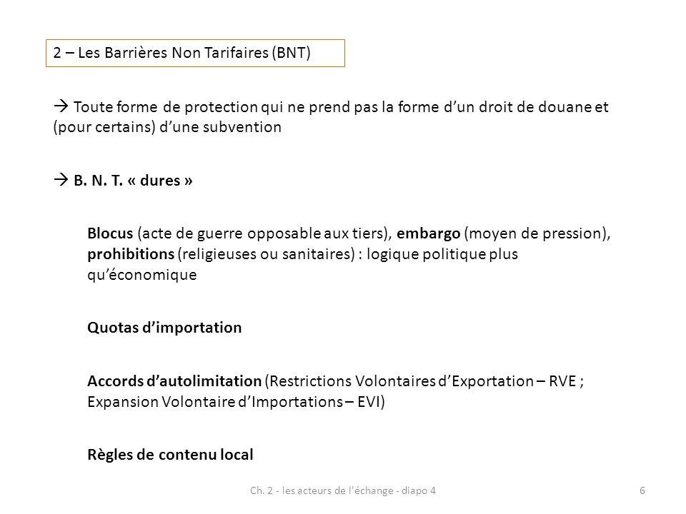 Ch. 2 - les acteurs de l'échange - diapo 46 2 – Les Barrières Non Tarifaires (BNT) Toute forme de protection qui ne prend pas la forme dun droit de do