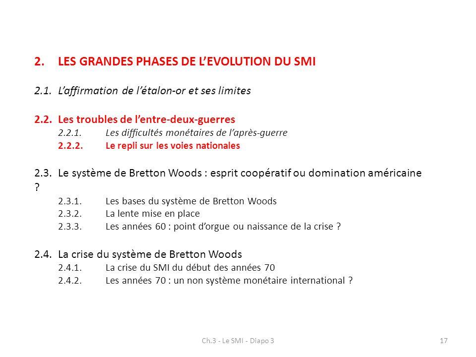 2.LES GRANDES PHASES DE LEVOLUTION DU SMI 2.1.Laffirmation de létalon-or et ses limites 2.2.Les troubles de lentre-deux-guerres 2.2.1.Les difficultés