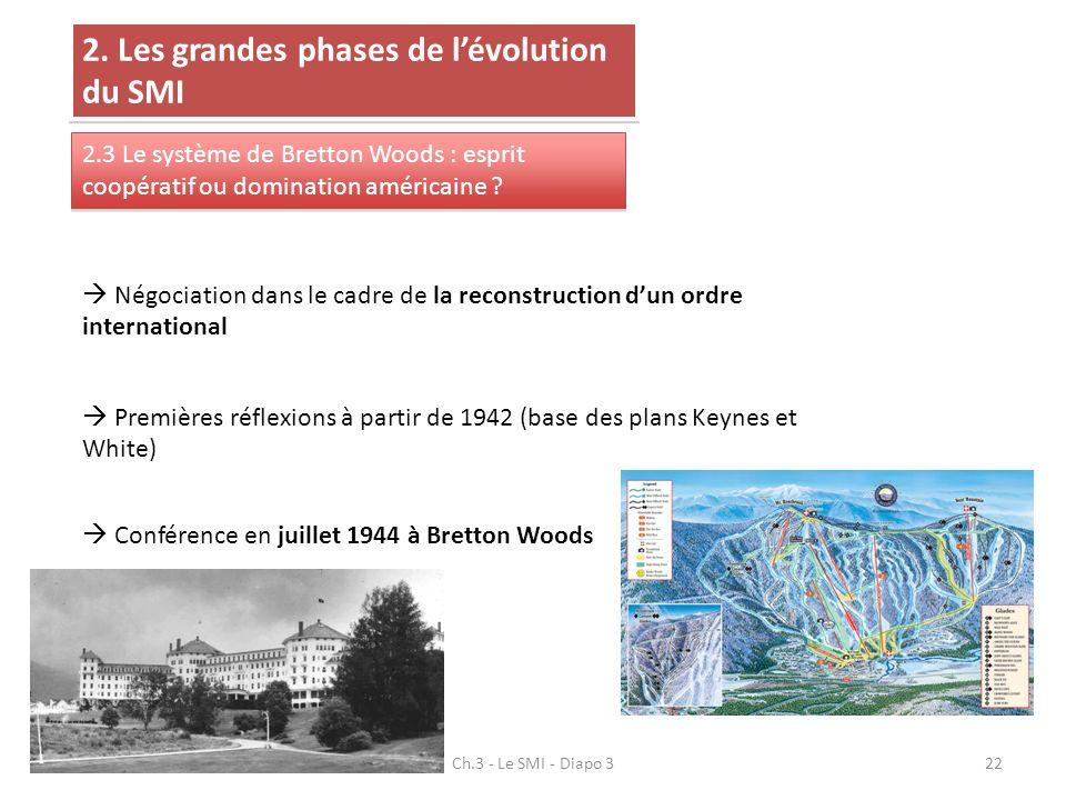 Ch.3 - Le SMI - Diapo 322 2. Les grandes phases de lévolution du SMI 2.3 Le système de Bretton Woods : esprit coopératif ou domination américaine ? Né