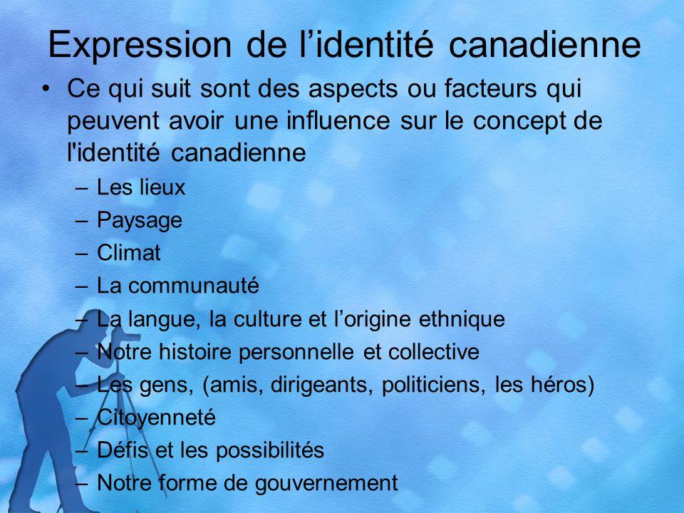 Expression de lidentité canadienne Ce qui suit sont des aspects ou facteurs qui peuvent avoir une influence sur le concept de l'identité canadienne –L