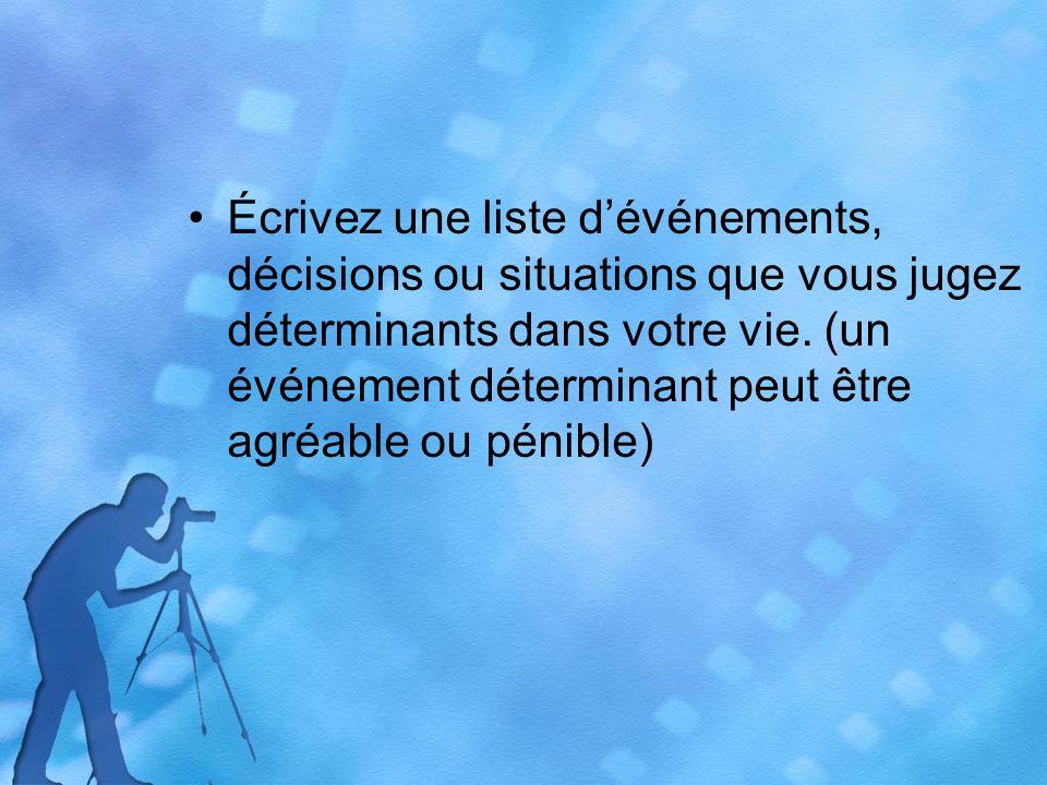 Écrivez une liste dévénements, décisions ou situations que vous jugez déterminants dans votre vie.