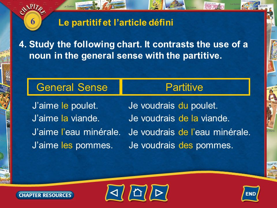 6 4. Study the following chart. It contrasts the use of a noun in the general sense with the partitive. Le partitif et larticle défini General Sense J
