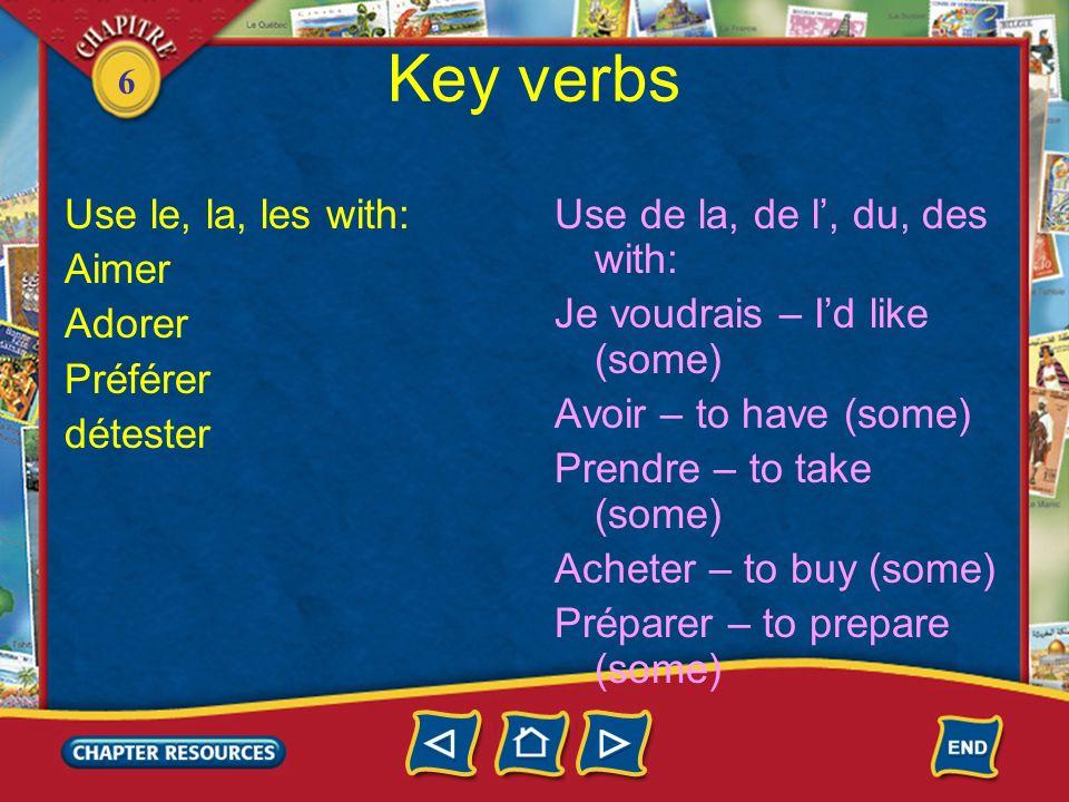 6 Key verbs Use le, la, les with: Aimer Adorer Préférer détester Use de la, de l, du, des with: Je voudrais – Id like (some) Avoir – to have (some) Pr