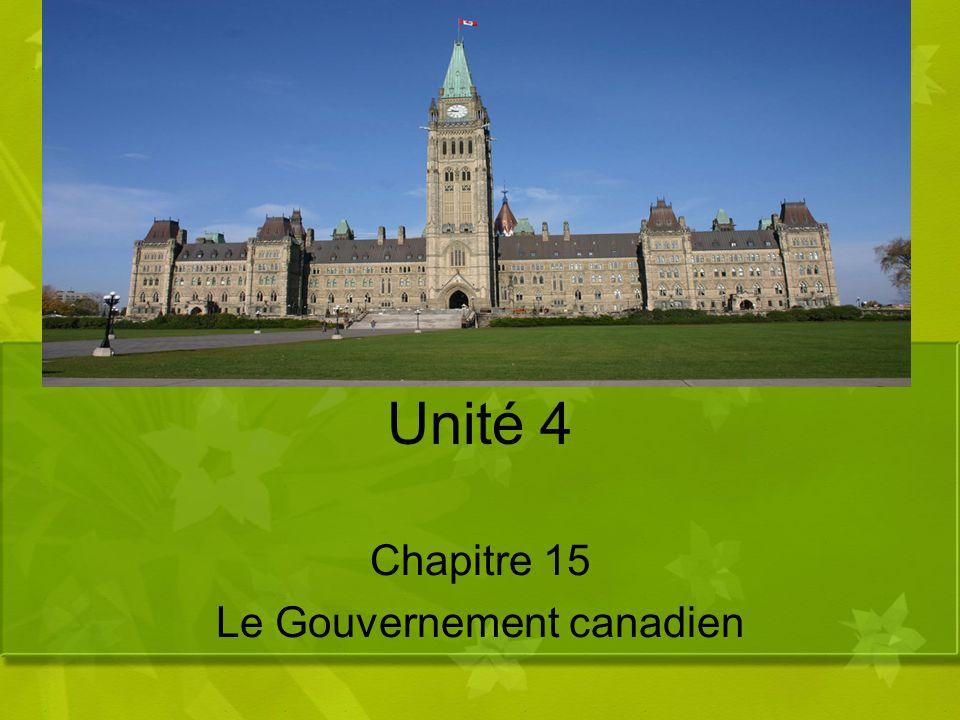 Unité 4 Chapitre 15 Le Gouvernement canadien