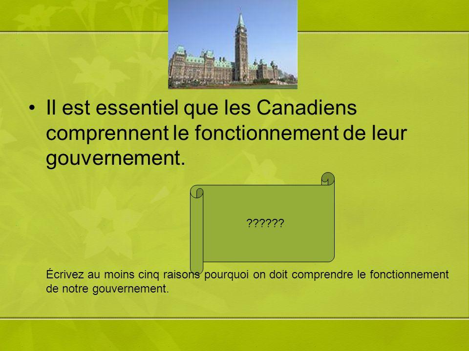 Il est essentiel que les Canadiens comprennent le fonctionnement de leur gouvernement. ?????? Écrivez au moins cinq raisons pourquoi on doit comprendr