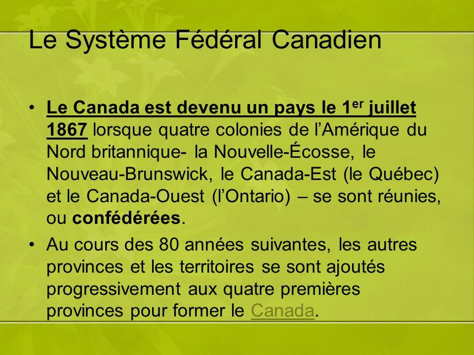 Le Système Fédéral Canadien Le Canada est devenu un pays le 1 er juillet 1867 lorsque quatre colonies de lAmérique du Nord britannique- la Nouvelle-Écosse, le Nouveau-Brunswick, le Canada-Est (le Québec) et le Canada-Ouest (lOntario) – se sont réunies, ou confédérées.