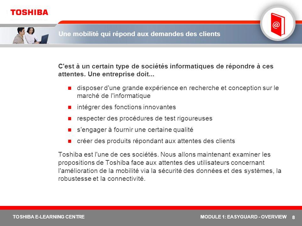 19 TOSHIBA E-LEARNING CENTREMODULE 1: EASYGUARD - OVERVIEW Toshiba Assist Toshiba Assist est l élément le plus simple identifié au concept Toshiba EasyGuard.