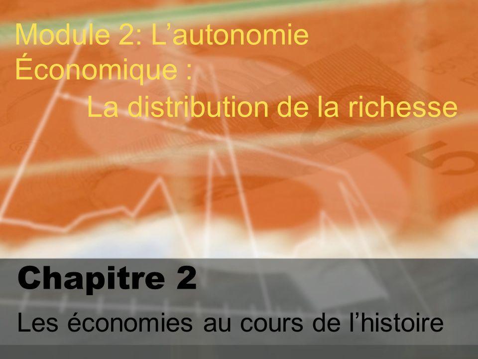 Chapitre 2 Les économies au cours de lhistoire Module 2: Lautonomie Économique : La distribution de la richesse